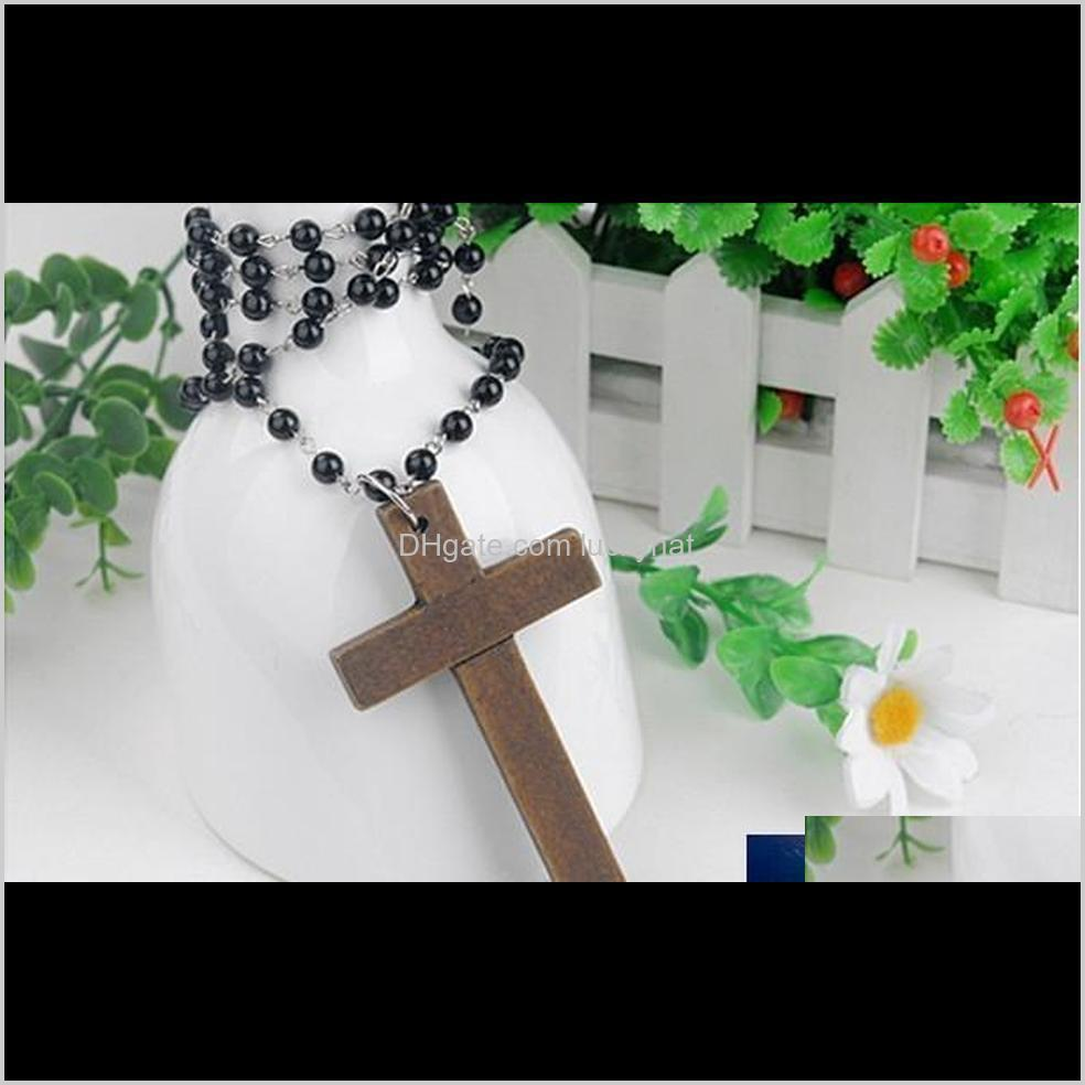 promotion fashion wood cross necklace long black beads sweater chain necklace wooden made cross pendant shipping