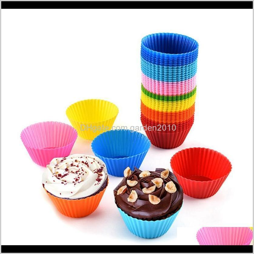 silicone muffin cupcake baking moulds cake cup colorful round shape bakeware mould case baking cup mold tools hha1302