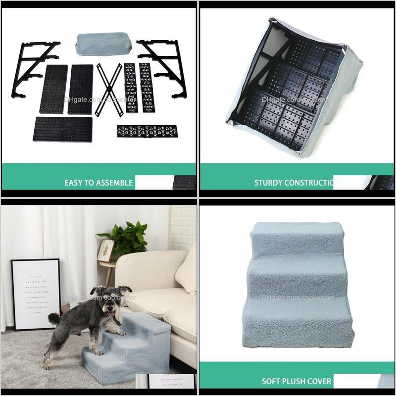 pawzroad pet dog stairs 3 steps ladder for small old dogs ramp for high bed sofa puppy detachable cat bed cushion mat solid step