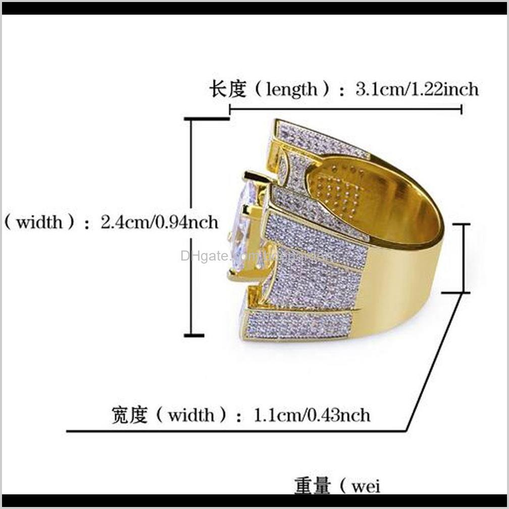 luxury squared diamond solitaire eternity iced out rings cubic zirconia micro pave simulated diamonds ring with gift box 18k gold