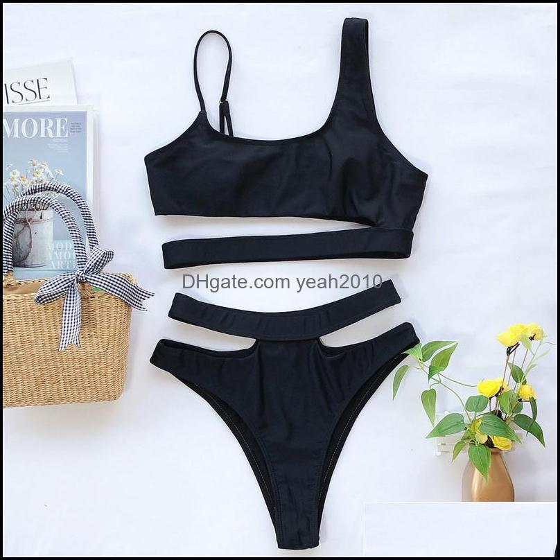 Stylish Ladies Swimwear Classic Stamping Bikini Sets Hollow Out Beach Wear Backless Solid Color Swimming Suits