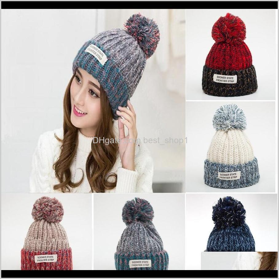 women knitted soft ball cap girls winter fur pom bobble hat outdoor warm crochet ski cap fashion beanie party hat dda725