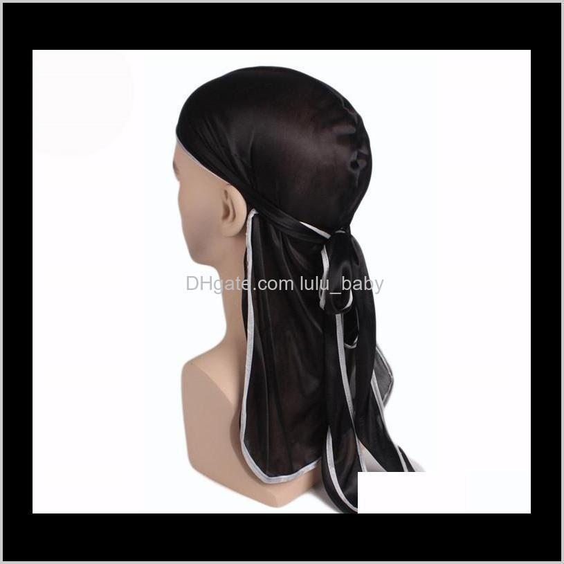 new fashion men`s satin durags bandanna turban wigs men silky durag headwear headband pirate hat hair accessories b395