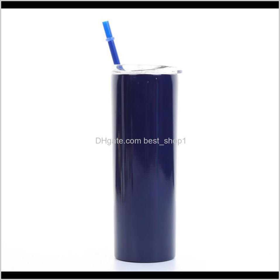 20oz 600ml stainless steel straight cup tall skinny tumbler vacuum insulation water mug cups with lid and straw ljja3153