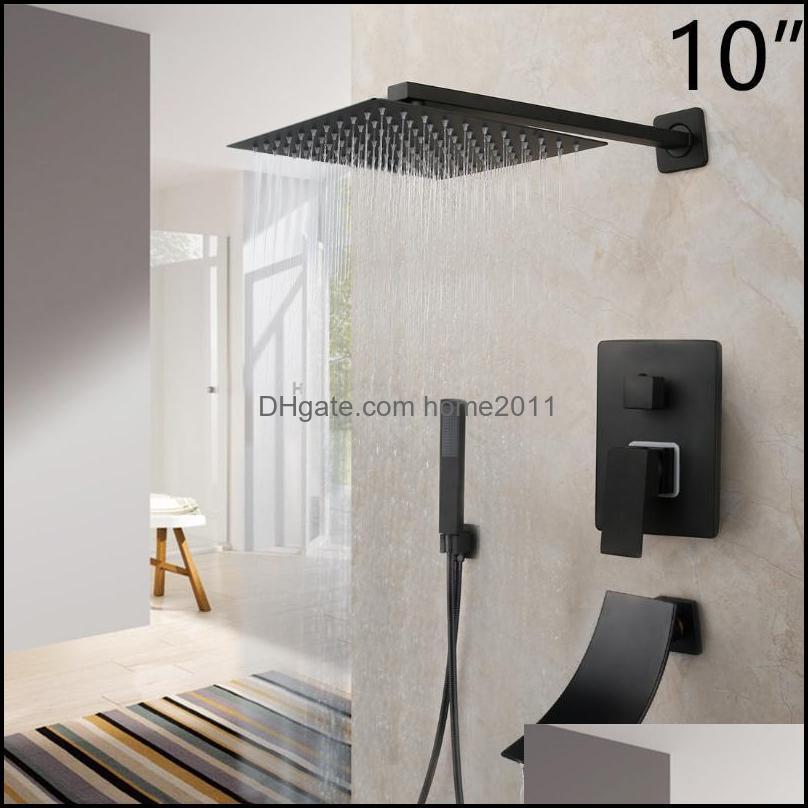 Bathroom Shower Sets 8/16 Inch Matte Black Rainfall Faucet Tub Led Bathtub Rain Square Head Waterfall Spray Set