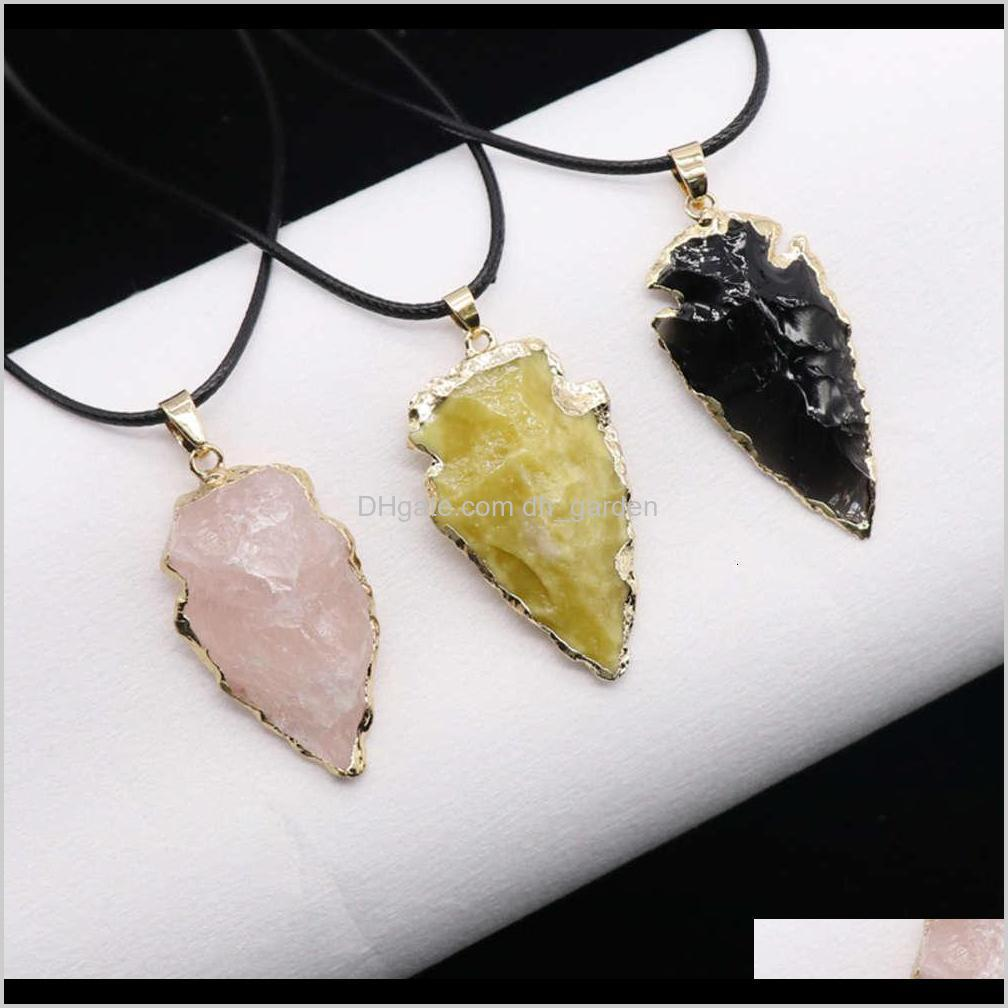 jewelry agate obsidian seven color crystal original ore arrow pendant necklace accessories