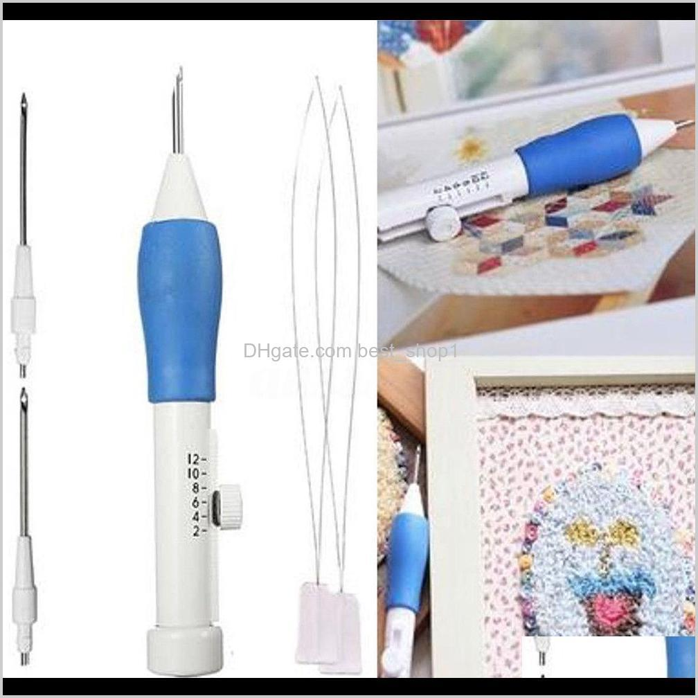 3 size embroidery punching stitching needle sewing threader diy hand tools set micro needle pen embroidery tool bba325
