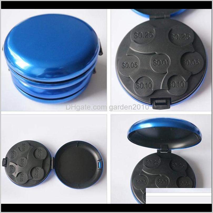 aluminum alloy+plastic organizer money boxes euro dollar coin box dispenser coins purse wallet holders storage box
