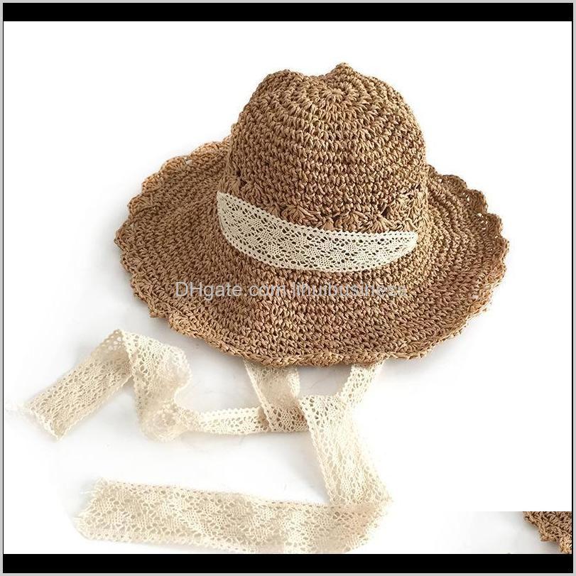 2021 new mori cute handmade lace lace straw hat female summer sunshade beach big brim hat foldable
