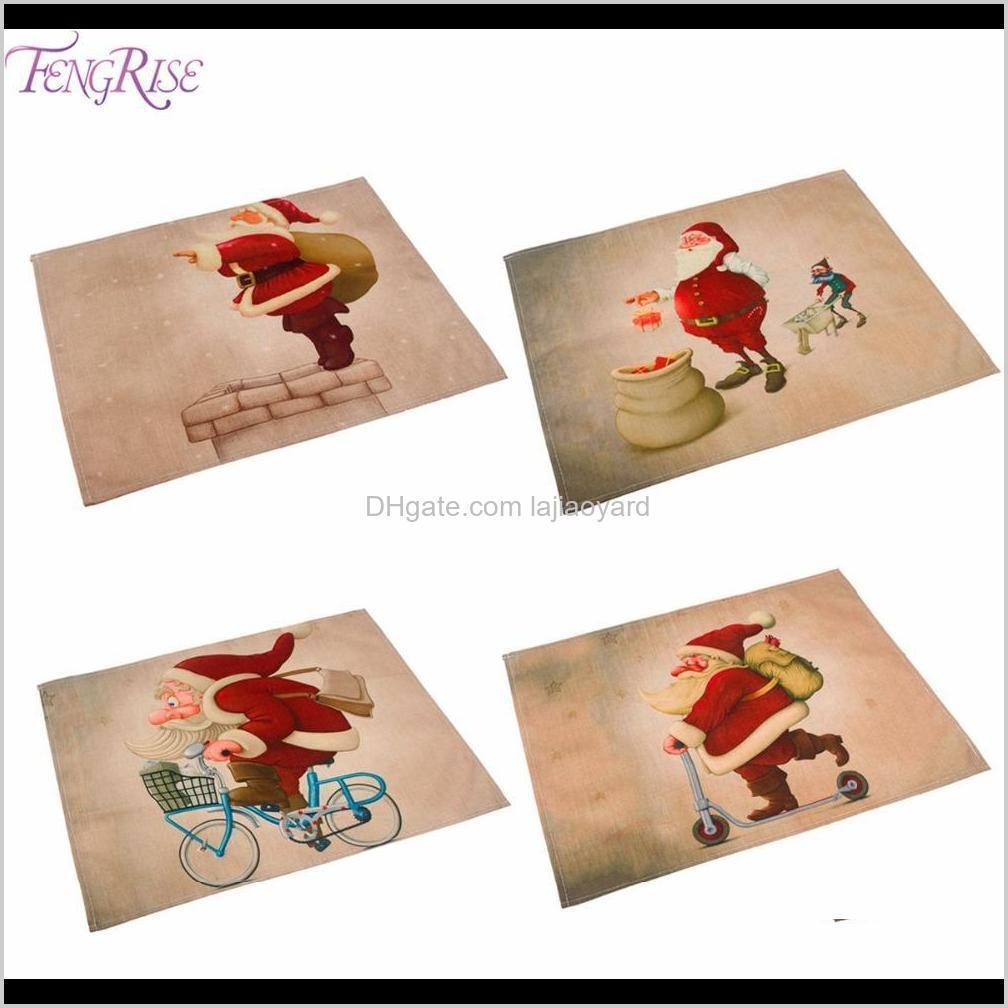 fengrise 42x32cm santa claus table mat christmas decorations for home placemat table napkin christmas tableware new year 2020 wmtemd