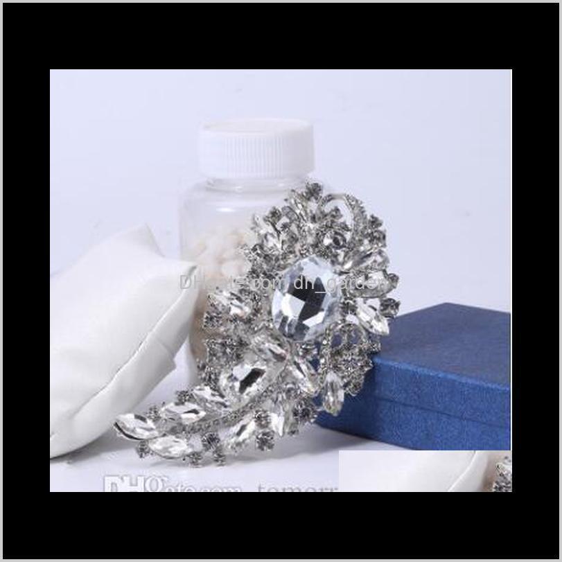 4.4 inch luxury brooch big clear crystals rhinestone wedding bridal pins brooches new arrival high quality stunning diamante women