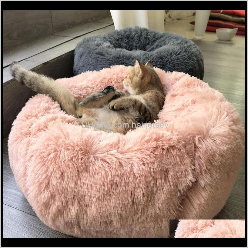 houses autumn and winter thick plush round pet mat for deep sleep cat nest kennel