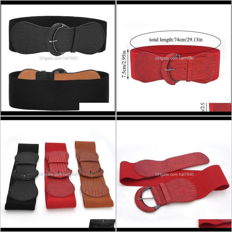 74cm Faux Leather Wide Belt Elastic Band Women Slim Decorative Belt For Dress Corset Adjustable Waist Cummerbund Waistband