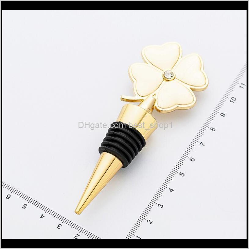 lucky clover wine bottle stopper four leaf clover red wine stopper wedding favor birthday gift event giveaways owd1066