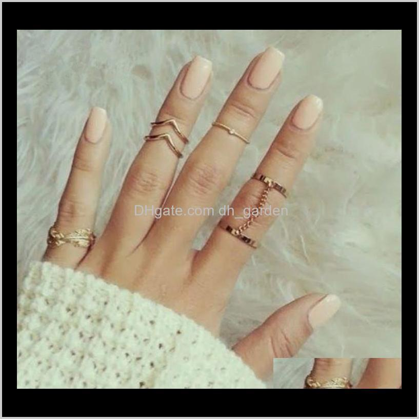 new fashion jewelry 6pcs/set shiny punk style gold/silver plated stacking midi finger knuckle rings charm leaf ring set women chain