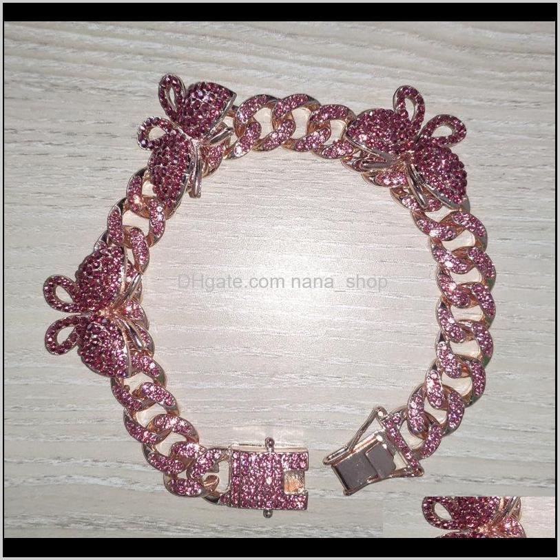 rhinestone butterfly ankle bracelet cuban link chain anklets for women wide foot bracelets beach jewelry hh881