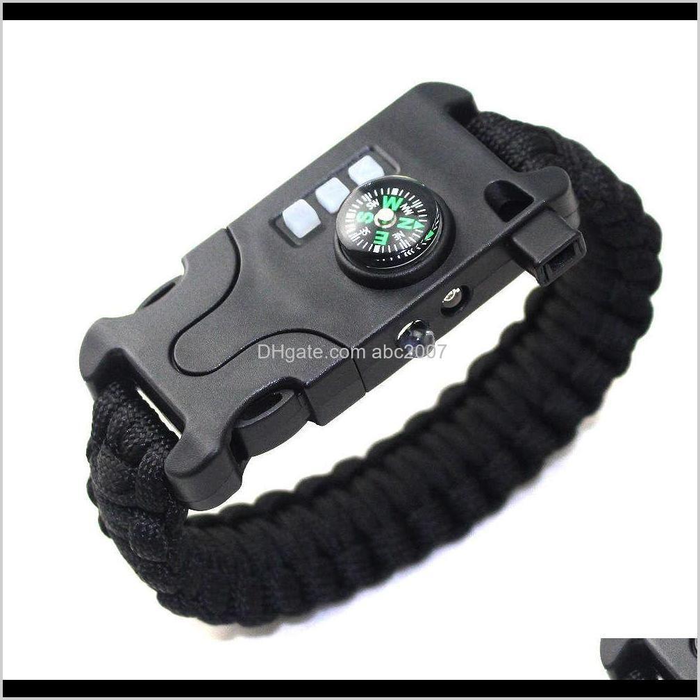 outdoor new camping lamp laser sos umbrella rope multifunctional flashlight emergency survival bracelet