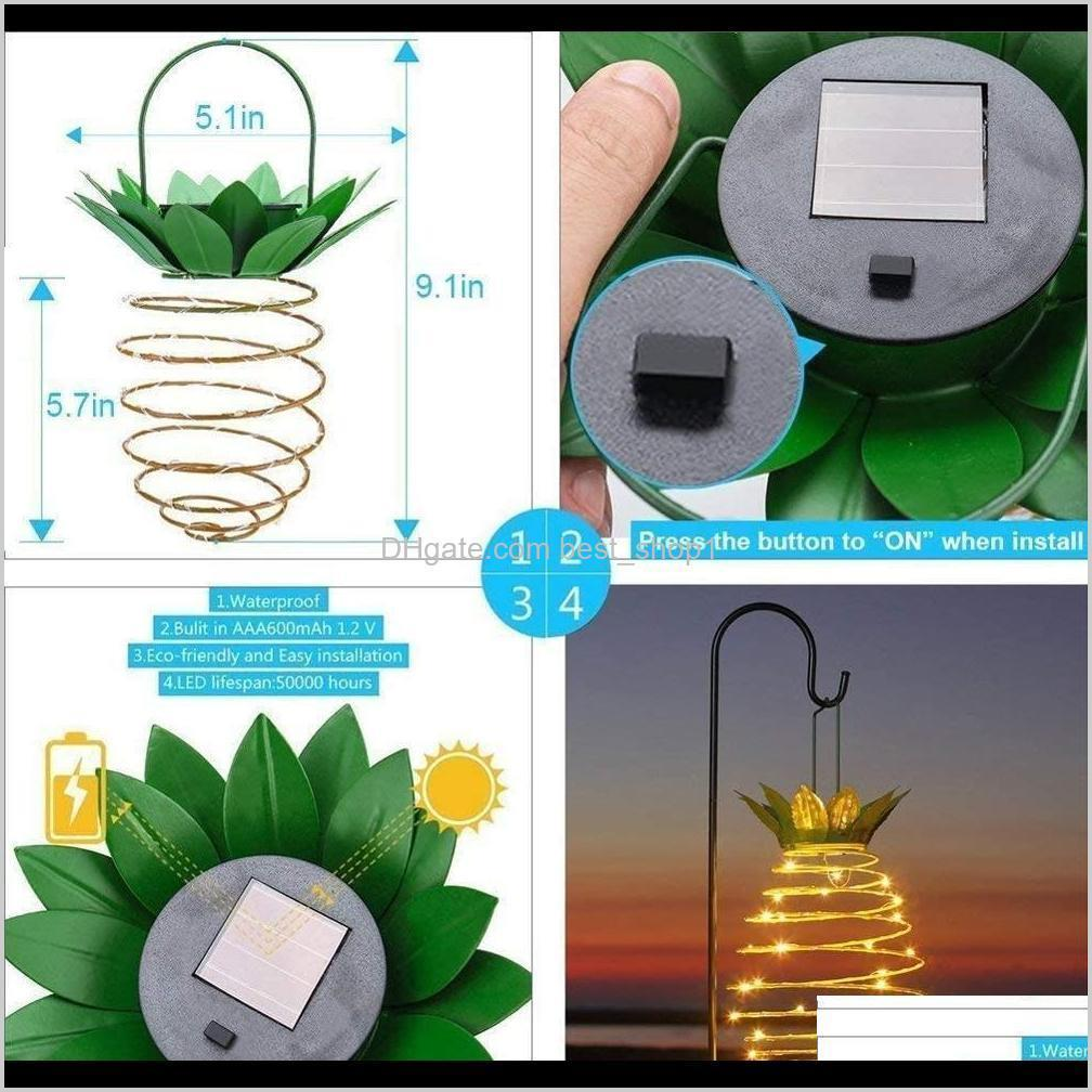 solar garden lights pineapple shape solar hanging light waterproof wall lamp fairy night lights iron wire art home decorations ewf2719