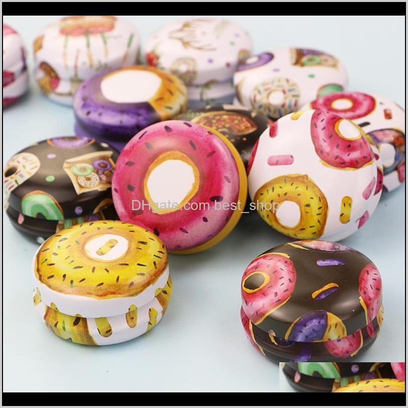 donut flower ink pattern box personal family aromatherapy iron candle jar portable ointment lipstick packing case 1 2am j2