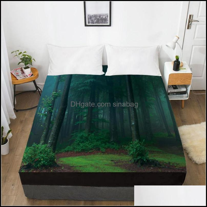 Sheets & Sets Elastic Fitted Sheet Bed With An Band 160x200/180/200/150x200 Mattress Cover 1pc Sandy Beach