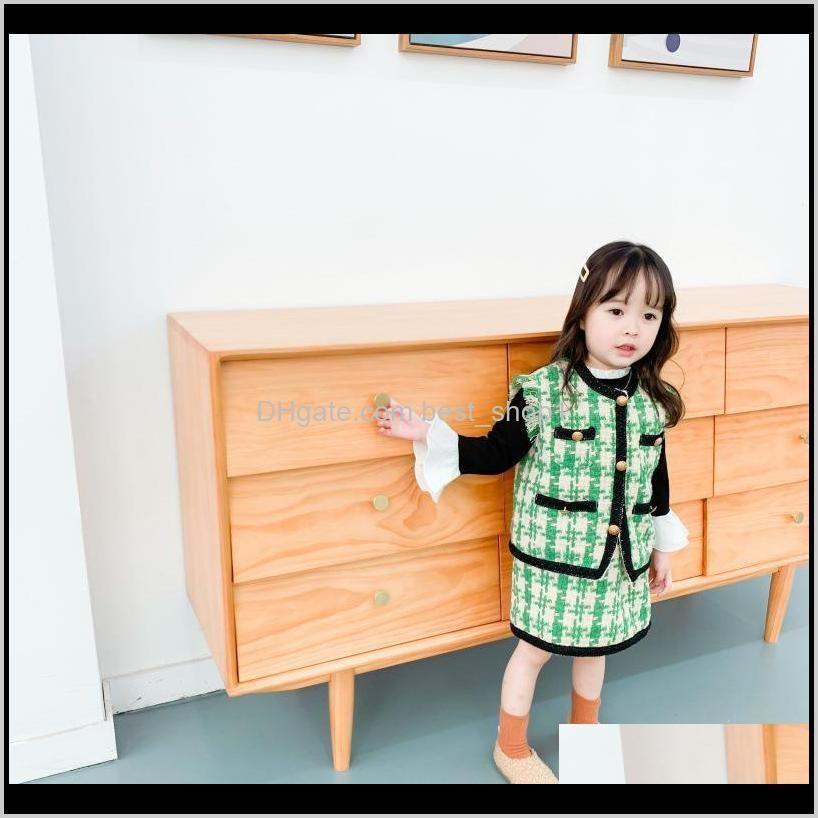 ins toddler girls sleeveless suit two-piece skirt set designers kids coat plaid jacket and dresses baby summer fashion clothing dress