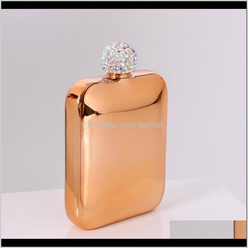 Stainless Steel Hip Flask With Diamond Lid Ladies Outdoor Portable Square Hip Flask Mini Pocket Flask 5 Colors T2I51784