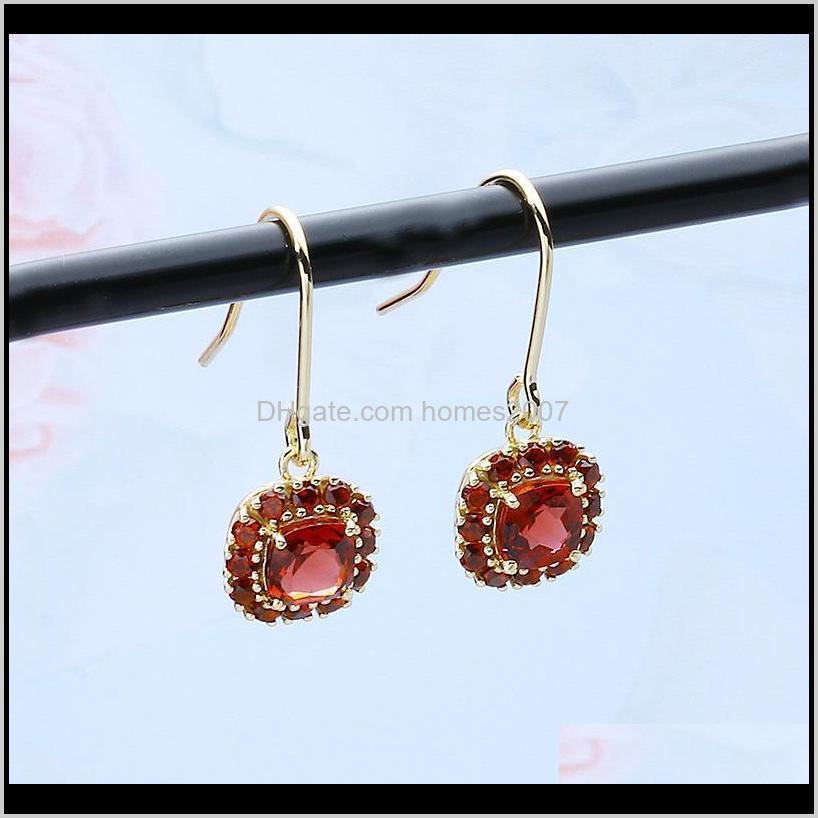 Earrings Temperament Natural Red Pomegranate Women`s Simple Suit Boucle D`oreille Bijoux Femme Aros Earing Hoop & Huggie