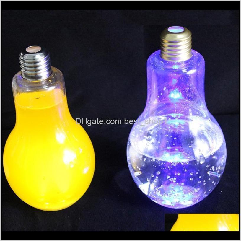 led light bulb water bottle plastic milk juice water bottle disposable leak-proof drink cup with lid creative drinkware wholesale