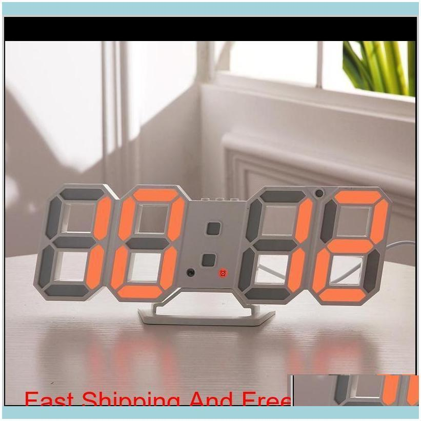 Modern Design 3D Led Wall Clock Modern Digital Alarm Clocks Display Home Living Room Office Table Desk Night Wa Bbyyry Imeh7 Njdb9