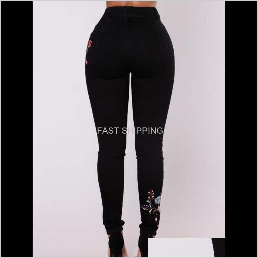 Women Floral Print Black Jeans Sexy