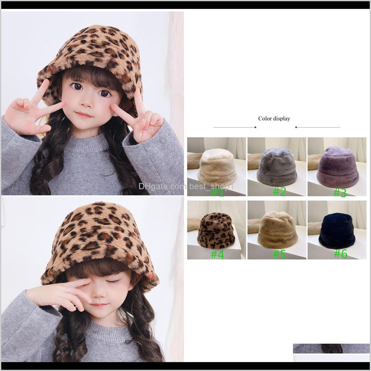 new ins 6 colors kids autumn and winter rabbit fur leopard hat children korean children bucket hat fisherman baby plush bucket hat
