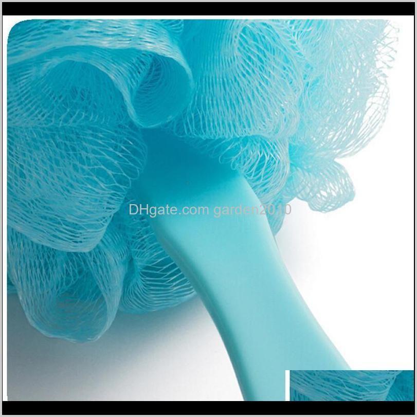 long handle bath shower body brush shower nylon mesh scrubber loofah with sponge mesh large head elba008