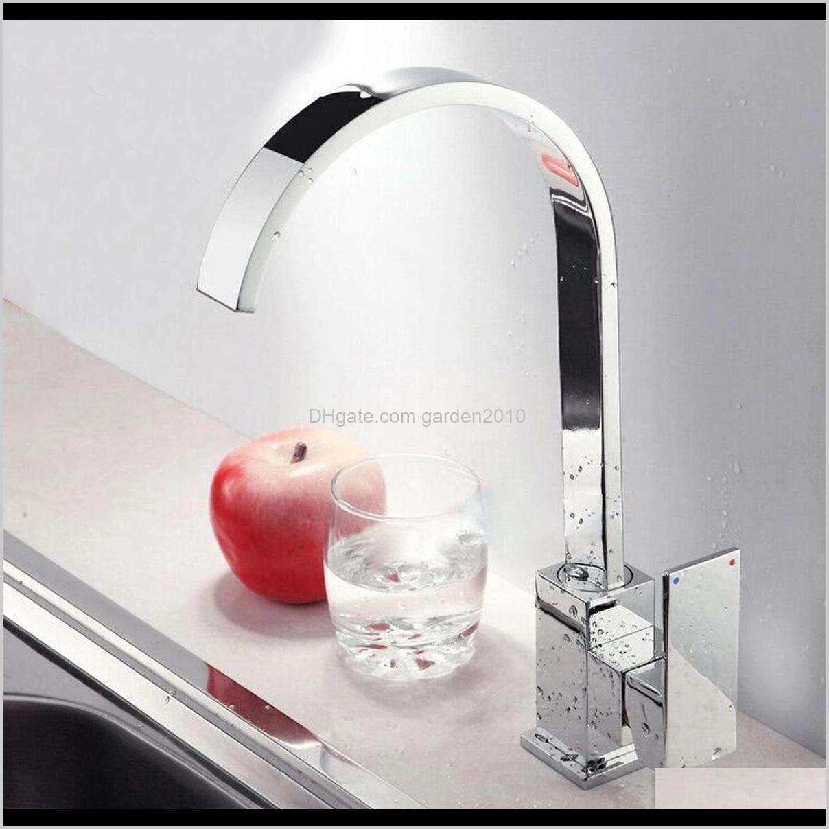 kitchen sink faucet mixer tap swivel spout chrome brass square single lever mono