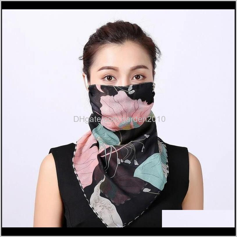 outdoor cycling windproof women multifunction silk scarves face mask dust-proof breathable sunshade neck protector scarf reusable mouth