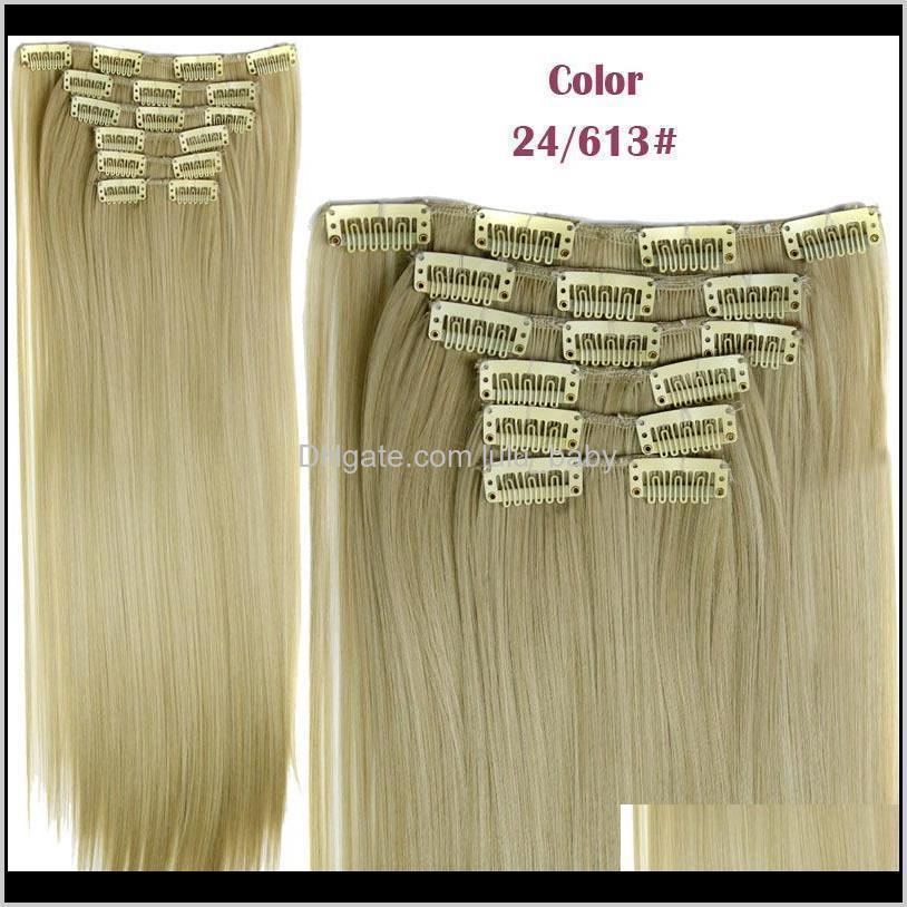 6pcs/set synthetic clip in hair extensions straight 24inch 140g synthetic clip on hair extensions more colors