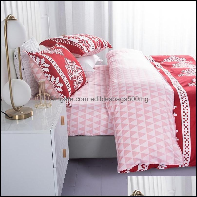 Bedding Sets 4pcs/Sets Home Christmas Flat Bedsheet & Quilt Cover Set With Pillowcase Queen Comforter Soft Breathable