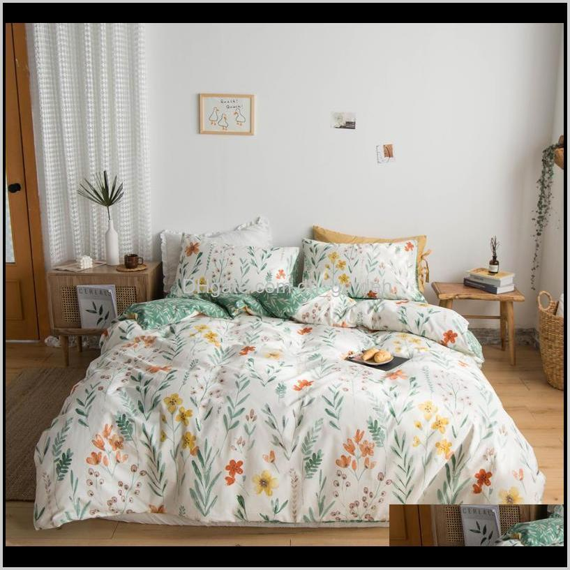 chic floral printed duvet cover for girls women queen king twin size 100% cotton soft bedding set flat bed sheet pillowcases sets