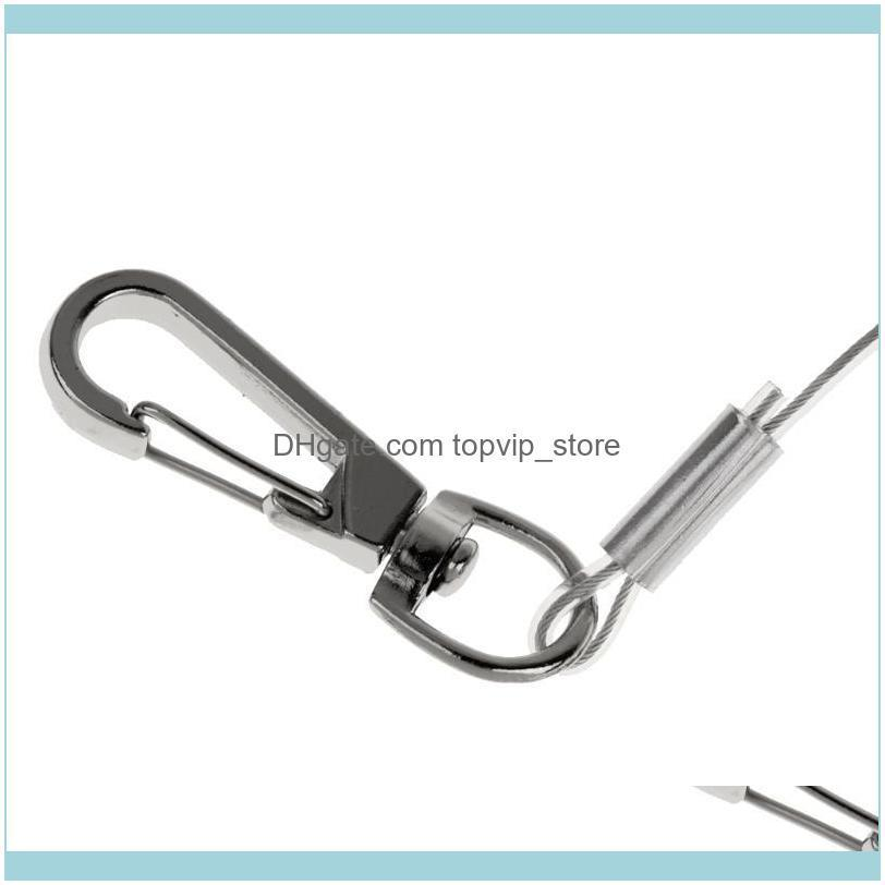 1.4M Elastic Steel Wire Coiled Lanyard Safety Rope Swivel Snap Clip Cord Fishing Rod Holder Keeper Accessories