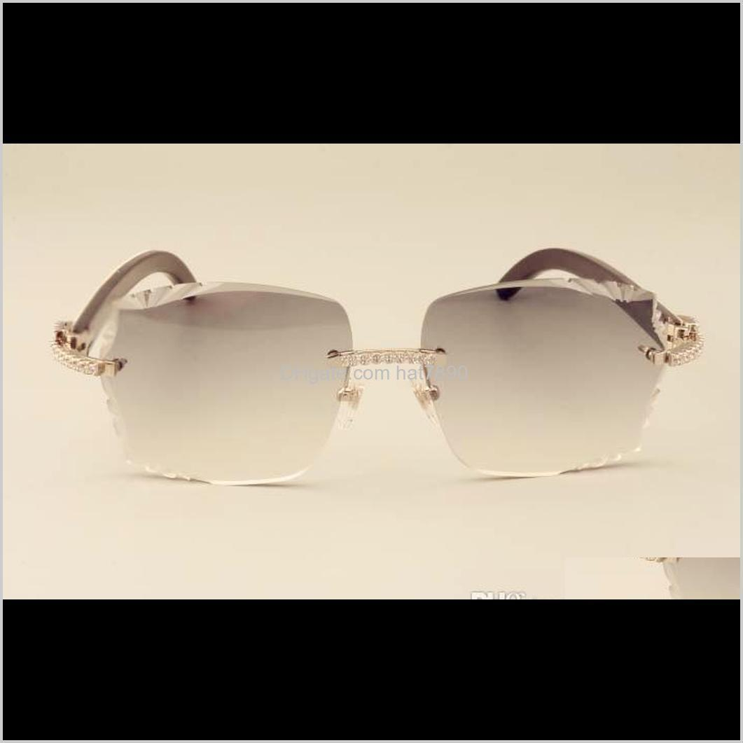 2019 new factory direct luxury fashion diamond sunglasses 3524014 natural mixed horns mirror legs sunglasses engraving lens private