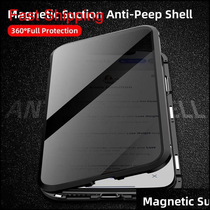 magnetic tempered glass privacy metal phone case coque 360 magnet antispy protective cover for phone xr xs max x 8 7 plus cyberstore