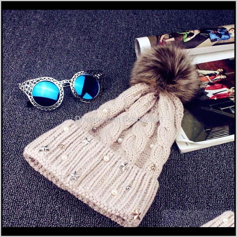 new fashion women lady faux fur ball winter warm crochet knitted hat cap beanie skullies