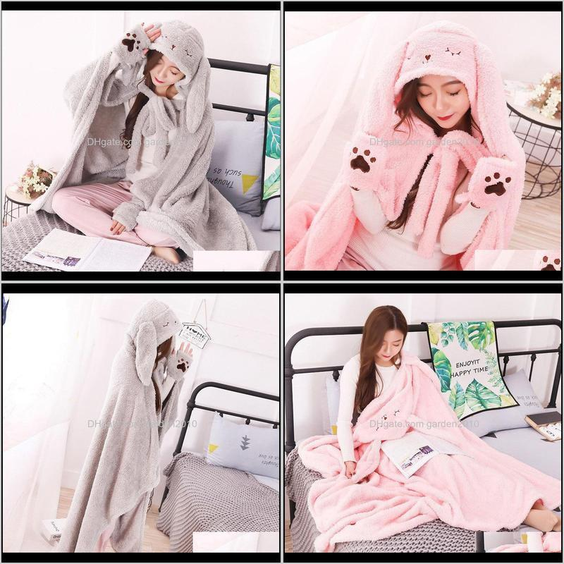 kawaii long ear hooded weighted blanket winter warm rabbit pattern pure color cloak with gloves women home office accessories 201113