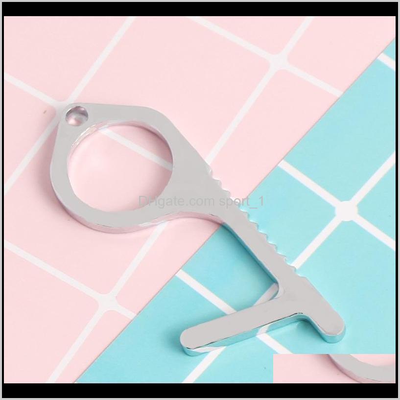 edc keychain door closer non-contact handheld press elevator tool door opener hook & stylus utlity tool vt1376