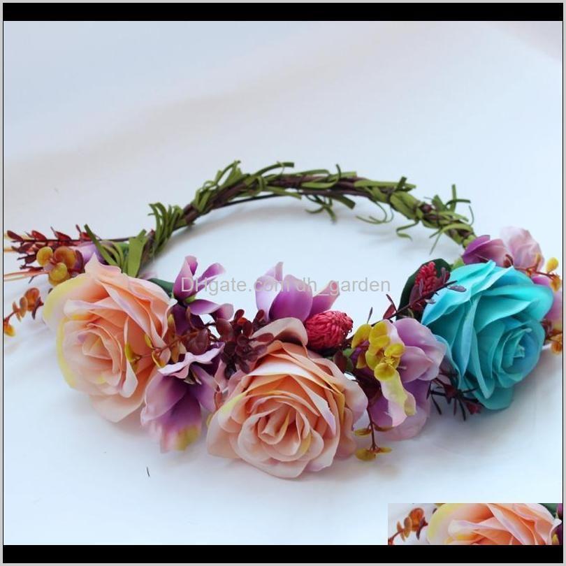 wedding flower garland bride hairband hair accessories festival decor princess floral wreath