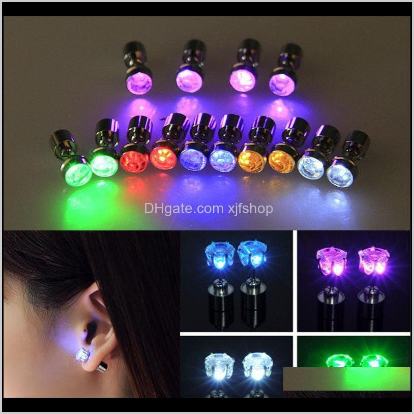 fashion light up bling led stud earrings flash style glowing crystal rhinestone crown ear studs party jewelry accessories moq:50pairs