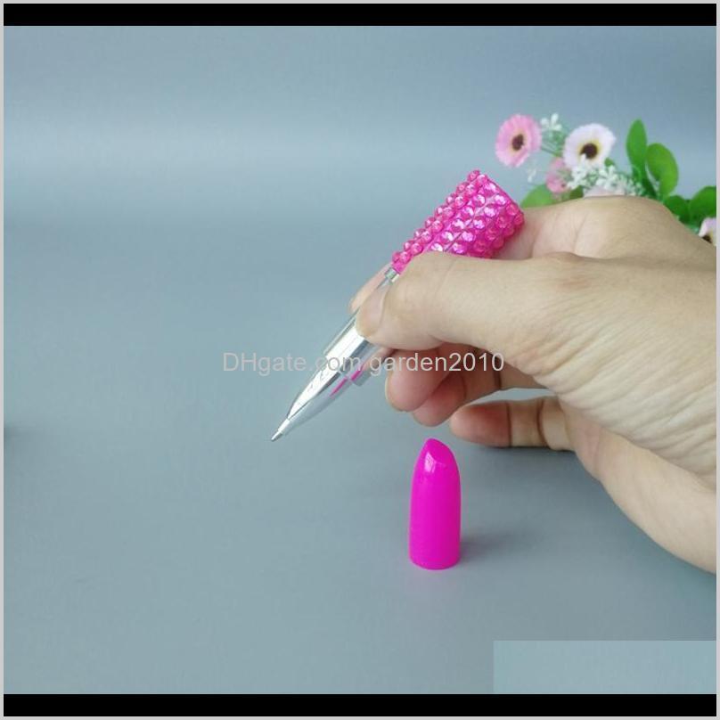 rhinestone lipstick ballpoint pen lipstick ball pens school office supply