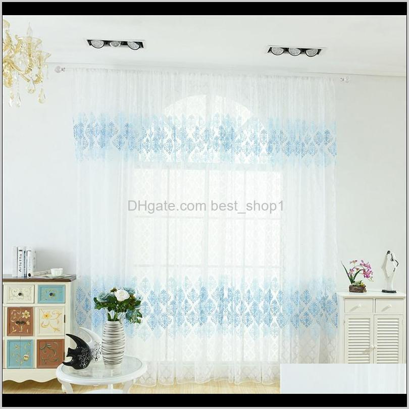 100*200cm beautiful tulle curtains for living room flower totem tulle screens sheer voile curtains drape panel window decor