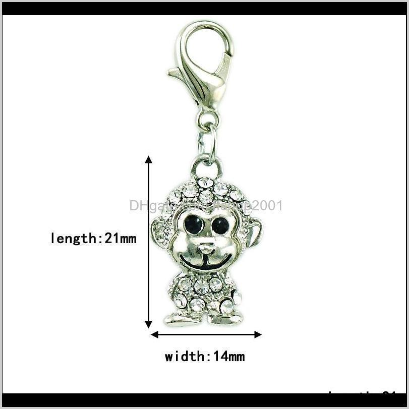 fashion lobster clasp charms dangle white rhinestone monkey animal pendants charms for diy jewelry making accessories