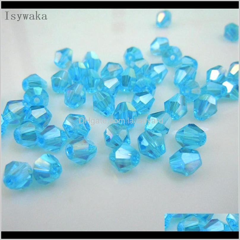 isywaka sale golden color 6mm 48pcs bicone austria crystal beads charm glass beads loose spacer bead for diy jewelry making wmtzdf