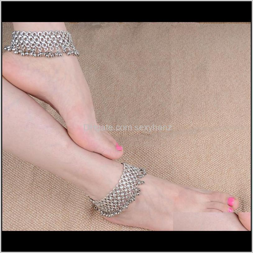 new fashion sexy vintage silver anklet chain lots bell beads ankle bracelet foot jewelry for women barefoot sandal